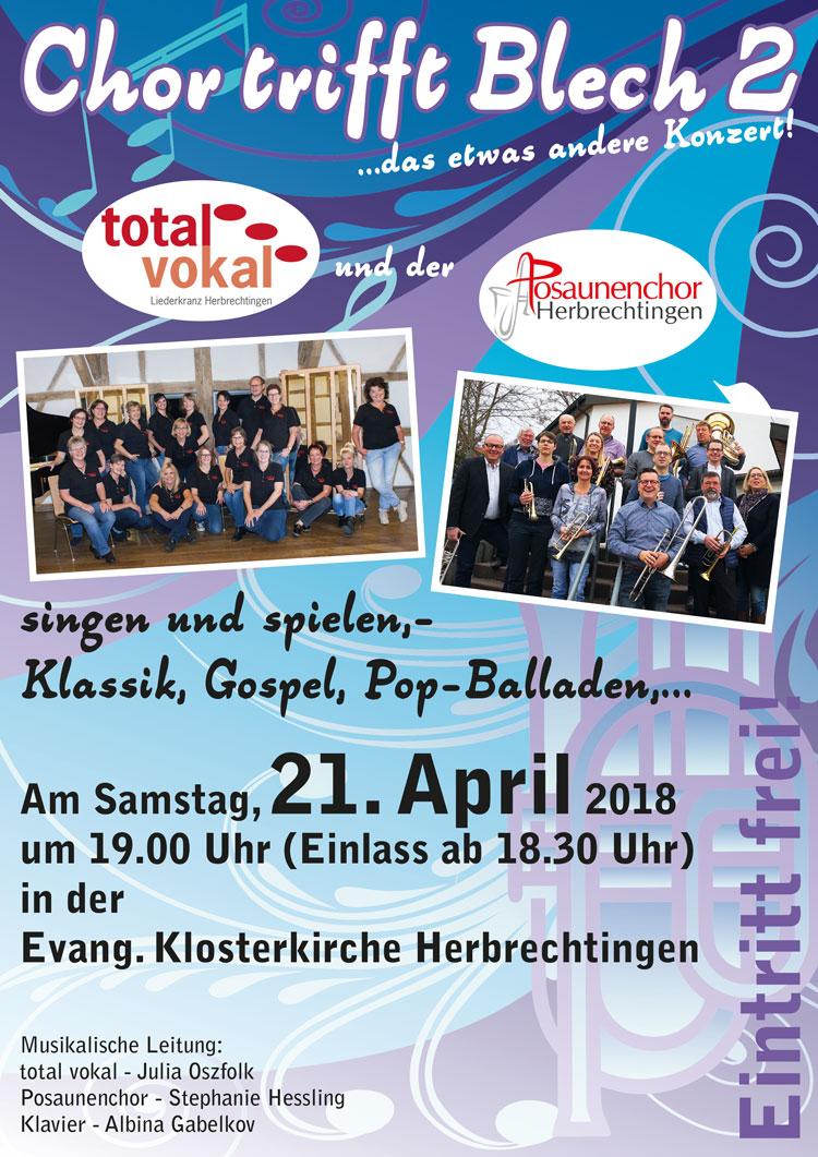 Plakat für das Konzert Chor trifft Blech 2